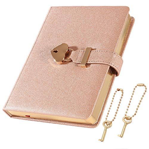 [cofumi] 日記帳 鍵付き 手帳 B6 予備の鍵を付けます 横罫8mm PUレザーカバー 日付なし おしゃれ かわいい ギフト 女の子 ダイアリー (シャンパンゴールド)