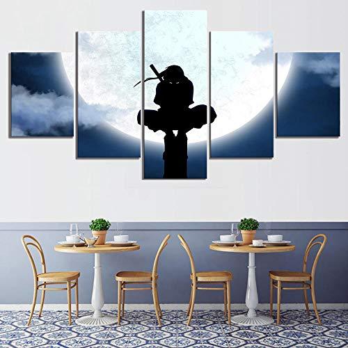 WTXZO Leinwanddrucke Uchiha Itachi Naruto Shippuuden 5 Stück Drucke Gemälde Wohnzimmer Poster Wandkunst Wohnkultur Größe B (kein Rahmen)
