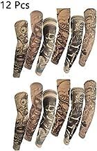 Efivs Arts 12pcs£¨6 pair£ D Series Skull Designs Body Art Arm Stockings Slip Temporary Tattoo Sleeves Fake Tattoo Temporary Tattoo Arm Stockings Cover up Sleeves (Color L)