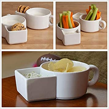 Saltine crackers Ceramic bowl 2 PCS Soup mugs with handles Soup and Cracker Mug or Cereal Bowl Cookies and Milk Veggie Snack /& Dip Cup