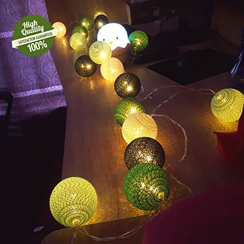 LED Lichterkette mit Baumwollkugeln, Chickwin Batterie 6cm Kugeln Mit Deko Licht Festlich Geburtstag Party Cotton Ball Themen Weihnachten Lichterkette Dekorative (Grüner Wald, 1.8m/ 10 Lichter)