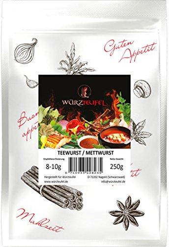 Feine Mettwurst - Gewürz, Teewurst Gewürzzubereitung ohne Geschmacksverstärker. Beutel: 250g.