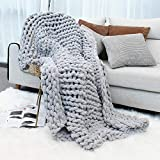 """Inshere Luxury Chunky Knit Throw Blanket (48""""x60"""")-Large Cable Knitted Soft Cozy Polyester Chenille Bulky Blankets for Cuddling up in Bed, on The Couch or Sofa"""
