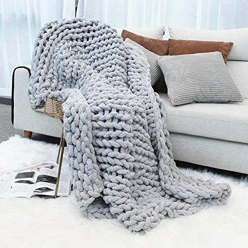 "Inshere Luxury Chunky Knit Throw Blanket (48""x60"")-Large Cable Knitted Soft Cozy Polyester Chenille Bulky Blankets for Cuddling up in Bed, on The Couch or Sofa (Slate Grey)"