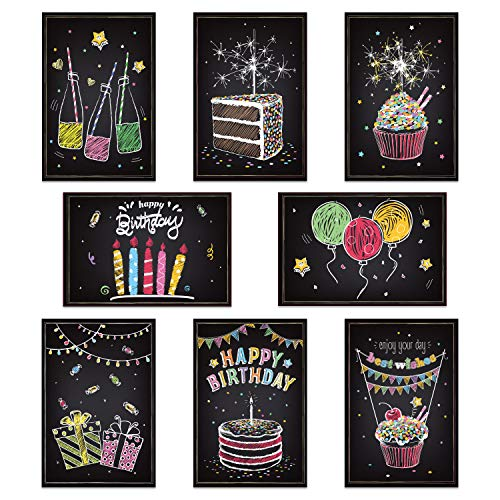 48-pack Happy Birthday Cards Assortment, 8 Graceful Designs Chalk Folded Birthady Card for Kids Birthday, 4x6 Inch Blank Inside Greeting Note Cards w/ White Envelopes and Stickers by Ohuhu