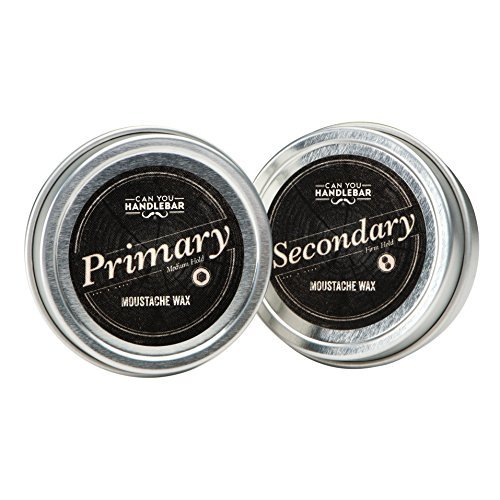 Moustache Wax Set: Medium Hold (Primary) and Extra Strong Hold Moustache Wax (Secondary) | 1 Oz Tin Each