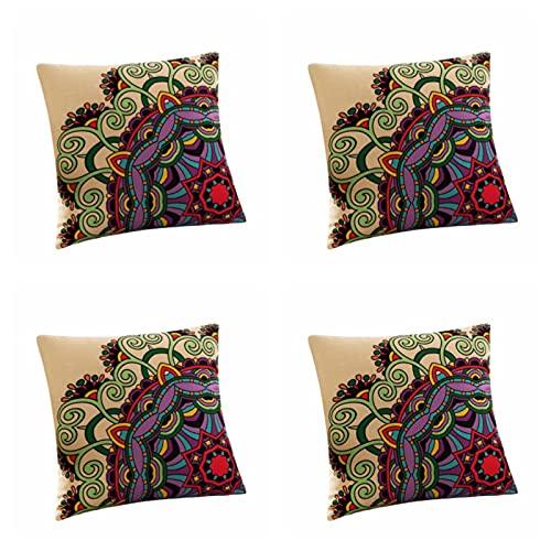 45 x 45 cm, federa per cuscino quadrato, 45 x 45 cm, in cotone e lino, set da 4 pezzi