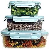 Set 3 Recipientes plástico para Comida, Tupper Cocina hermético, tuppers con Tapa para microondas, tupperware Horno, Taper Almacenamiento congelador. Fiambrera, tupperware, Taper (Azul)
