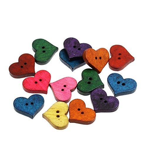 Housweety 100piezas de madera Botones de costura en forma de corazón Scrapbooking mezclado 20mm x16.5mm