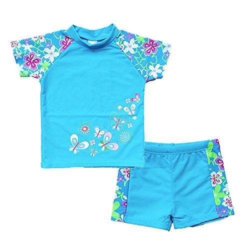 BAOHULU Girls Swimsuit Two Piece Tankini UPF 50+ UV Protective Rash Guard Set 3-12 Years S240_BlueShort_6A