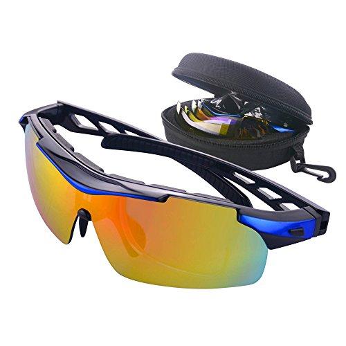 MATT SAGA Polarisierte Sport Sonnenbrille Unisex Radbrille UV-Schutz Fahrradbrille mit 5 Wechselgläser Sportbrille für Radfahren Fahren Golf Baseball Volleyball Fischen Klettern (Blau)