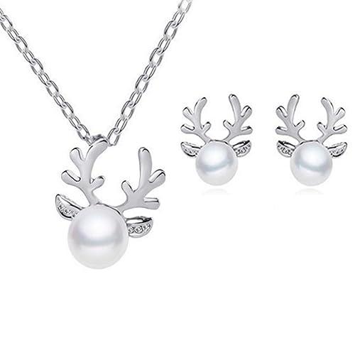 Hosaire 1 Satz Damen Weihnachten Halskette Ohrringe Mode Elchgeweih mit Weiss Perle Halsketten Earrings Frau Weihnachten Schmuck Zubehör