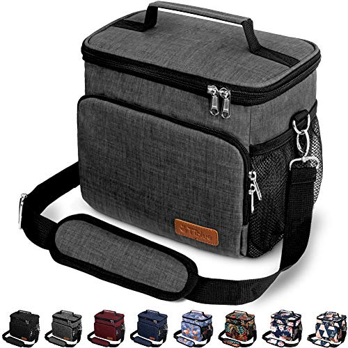 Insulated Lunch Bag for Women/Men - Reusable Lunch Box for Office Work School Picnic Beach - Leakproof Cooler Tote Bag Freezable Lunch Bag with Adjustable Shoulder Strap for Kids/Adult - Charcoal