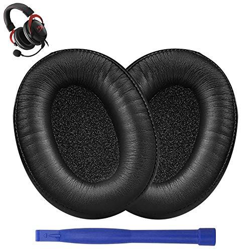 Hyperx Cloud Alpha - Almohadillas de repuesto para auriculares, compatibles con auriculares Kingston Hyperx Cloud Alpha, piel con memoria de espuma, color negro
