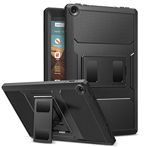 MoKo Cover per Nuovo Amazon Fire HD 10 (Modello di 9ª Gen 2019 & 7ª Gen 2017), Custodia Full Body Coperta Protettiva Anti-urti e Sporco con Pellicola Integrata per Fire HD 10 Tablet, Nero