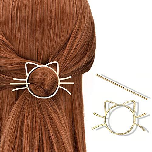 Yanhonin Haarspange, geometrische Katze, Haarspange, Metall