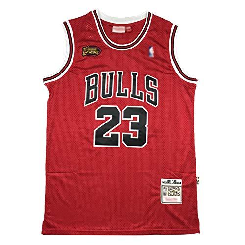 Jordan 98 Finale Logo Basketball Trikot, 23 Bulls Klassische Basketballuniform, Unisex Retro Stickerei Bequemes Sweatshirt (S-2XL)-S