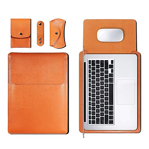 PU Leather Sleeve Bag Case For Macbook Air Pro 11 12 13 15 16 Cover A1466 Liner Sleeve For Macbook Air 13.3 Case 2020 A2179 (Black,11 12 inch)