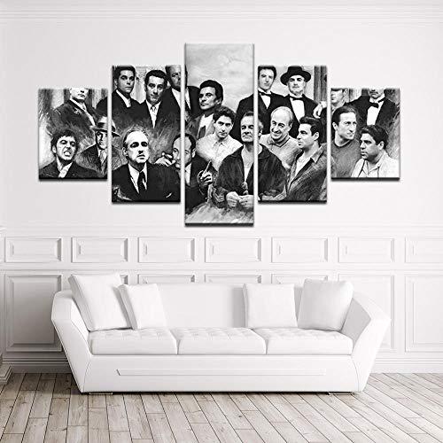 YOPLLL Decoración Moderna Casa Dormitorio Pared 5 Piezas Impresión HD Cartel De Lienzo Cuadros Pinturas Modulares Arte Película De Asesino De Motosierra(Sin Marco)