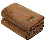 2 Pack Microfiber Bath and Beach Towel for Pets by- ScrubIt - Super Absorbent and Quick...