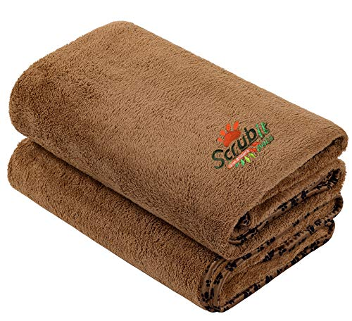 2 Pack Microfiber Bath and Beach Towel for Pets by- ScrubIt - Super Absorbent and Quick Drying - Perfect for Large, Medium, Small Dogs and Cats