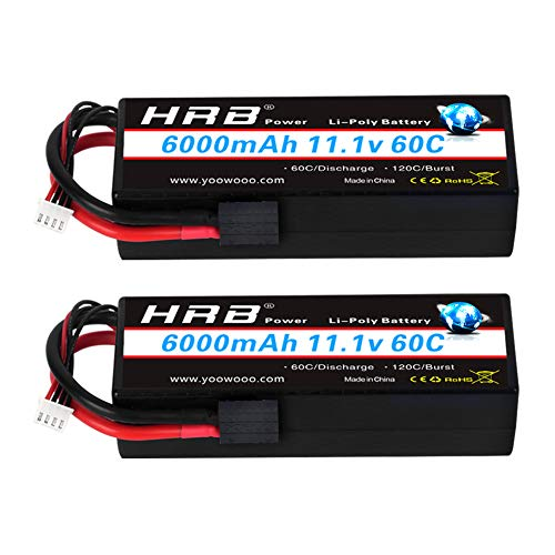 HRB 2packs 3S Lipo Battery 11.1v 6000mAh 60C Hard Case RC Battery with TRX Connector Plug for RC 1/8 1/10 Scale Vehicles Car,Trucks,Boats