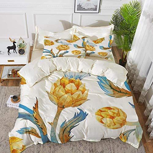 161 Artichoke,Abstract Colored Vegetables in Art Nouveau Watercolored Design Decorative,Sky,Hypoallergenic Microfibre Duvet Cover Set 230 x 220cm with 2 Pillowcase 50 X 80cm