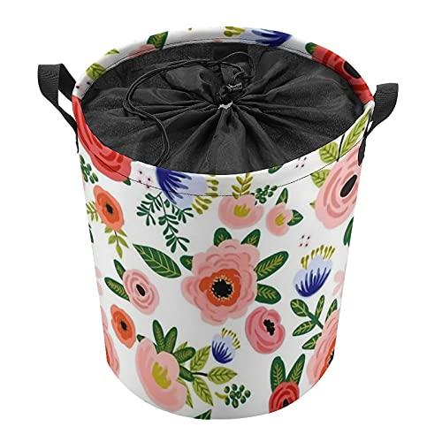 Fresh Blooms - Cestas de lavandería de tela Oxford, interior impermeable y plegable con asas (35 x 43,9 cm)