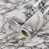 FANPING Auto Adhesivo Negro mármol Blanco de Brillo de Vinilo Papel de Contacto for la encimera de la Cocina gabinetes de Pared Backsplash Crafts Proyectos 60cm x 3m