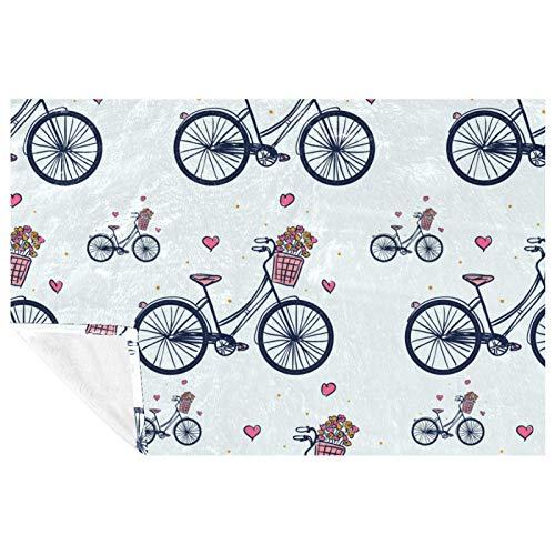 EZIOLY Manta acogedora con patrón de bicicleta Vector para patas, manta súper esponjosa, suave y cálida de microfibra para cama, sofá, al aire libre, viajes, picnic, camping (59 x 39 pulgadas)