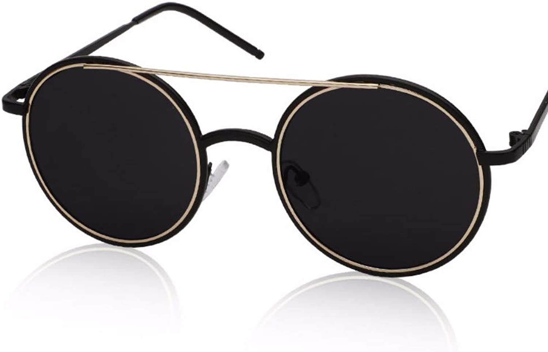 Circular Sunglasses female reflective sunglasses retrolarge Frame Sunglasses,A