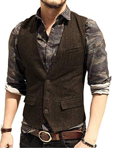 Chaleco de hombre ajustado de tejido tweed casual, para novio
