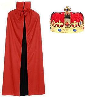 王冠 と リバーシブル 赤 黒 マント セット コスプレ 衣装 パーティー グッズ (Bセット)