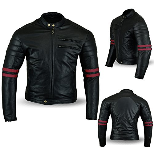 Motorcycle Jacket Black & Oxblood Matt Cowhide Leather Cafe Racer Hybrid CE Approved Armour (XXXXXL)