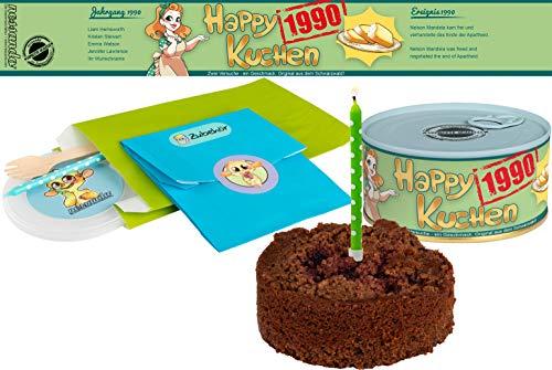 Happy Kuchen   Kuchen in der Dose   Personalisiert mit Wunsch- Geburtsjahr, Namen und Geschmack   Geburtstagsgeschenk   Geschenk   Geschenkidee (Schoko-Kirsch, Geburtsjahr 1990)