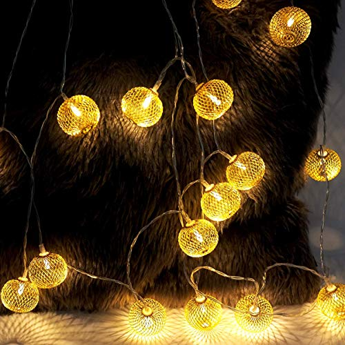 Battery Operated String Lights, 11ft/3.3m 20 Warm White LED Lantern Decorative Lights, Gold Metal Ball Fairy Lights for Valentine's Day, Festival, Wedding, Birthday, Party