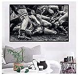 MRBIGWEI Rugby Football Match scène Chaos saisir Le Ballon pour la décoration intérieure Impression sur Toile Mur ArtSalon Photos décor à la Maison (60x90cm -24x36 sans Cadre