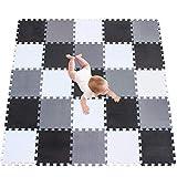meiqicool Alfombra puzle 142 x 142cm Niños 25 Piezas Cuadrado Goma Espuma EVA,Alfombra Puzzle para Niños Bebe Infantil,esteras de 30x30cm Blanco-Negro-Gris