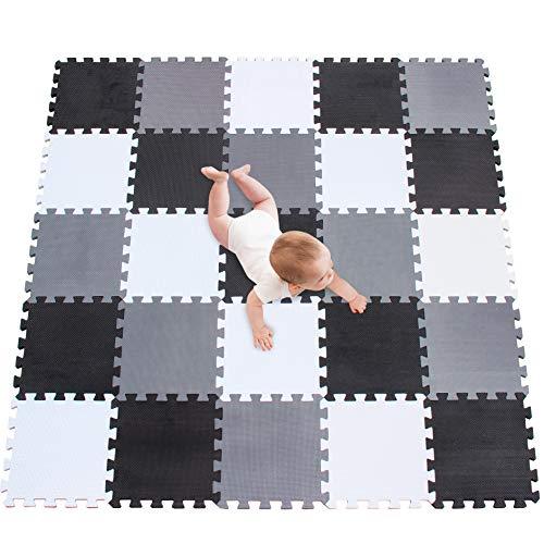 meiqicool Puzzlematte Spielmatte Spielteppich Schaumstoff Puzzle Kinderteppich Boden Puzzle kriechen Play Spiel Matte für Baby Kinder,Kleinkind sicher zu verwenden Schwarz-weiß-grau 25 PCS ADL