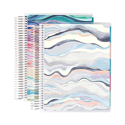 Erin Condren 12 - Month 2021 Coiled Daily Life Planner (January 2021 - December 2021) - Set of Two 6-Month Planners, 12 Months Total, Watercolor Blooms + Layers Colorful Covers