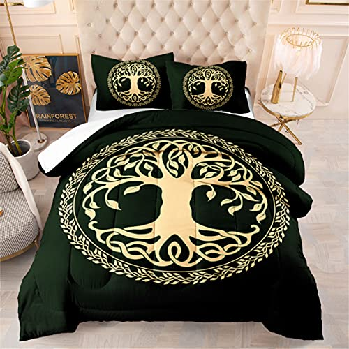 HMT NF Irish Celtic Wicca Tree of Life Comforter Set 3 Pieces Full Size Swirling Branches Bedding Quilt Set for Adut Kids 1 Comforter Set+2 Pillowcases