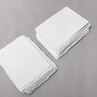 4.1 inch x 5.8 inch (A6) 210gsm, Ivory Handmade Cotton Deckle Edge Papers