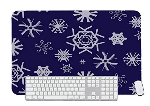 Alfombrilla de ratón para juegos tipográficos copos de nieve para escritorio y portátil 1 paquete de 600 x 300 x 3 mm/23,6 x 11,7 x 1,1 pulgadas