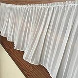17 cm de ancho de lujo blanco negro plisado gasa pliegue de encaje elástico con volantes ribete cinta vestido collar apliques para suministros de costura, blanco