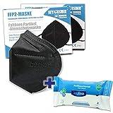 HYGISUN Schutzmasken Set | 12x FFP2 Maske schwarz ohne Ventil einzelnverpackt |1x Desinfektionstücher | Atemschutzmaske Staubmaske Mundschutzmaske | nach EN149 NB 2797