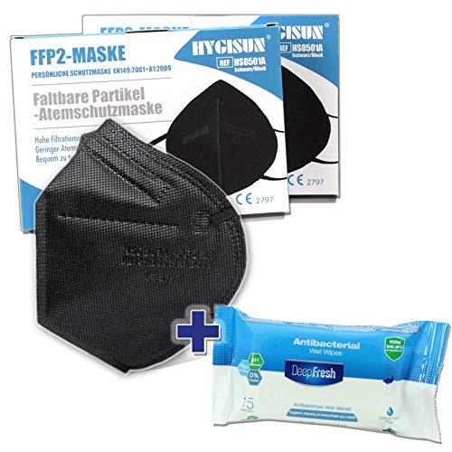 HYGISUN Schutzmasken Set   12x FFP2 Maske schwarz ohne Ventil einzelnverpackt  1x Desinfektionstücher   Atemschutzmaske Staubmaske Mundschutzmaske   nach EN149 NB 2797