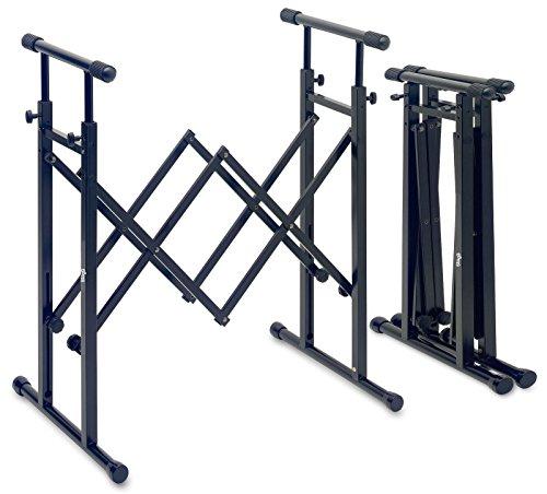Altura soporte universal ajustable con mecanismo de plegado para teclados, mezcladores, pianos...