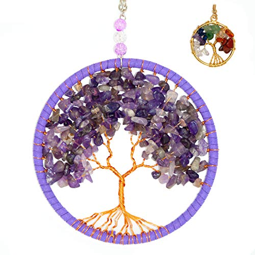 EXLUWOR Tree of Life Chakra Stones Healing Crystals tree Feng Shui Hanging Ornament 7 Chakra Wall Ornament Meditation Hanging Ornament Window Ornament for Home Decor Party Decor (Purple)