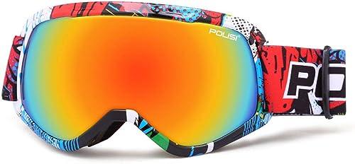 F.RUI Enfant Lunette de Ski,ZA-08 Masque de Ski Anti-UV Anti-buée pour Activité Extérieur Moto VTT Ski