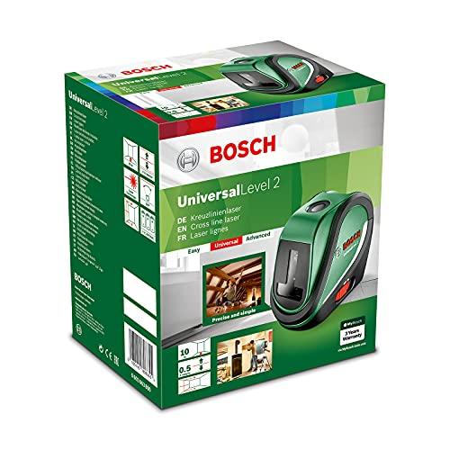 Bosch Kreuzlinienlaser UniversalLevel 2 Set (3x AA Batterien, Softbag, Arbeitsbereich: 10 m, Selbstnivellierungszeit: >4 s, Betriebsdauer: 5 h)